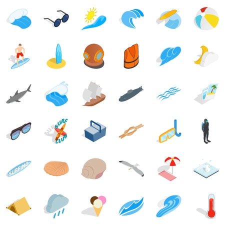 Dampness icons set. Isometric set of 36 dampness vector icons for web isolated on white background