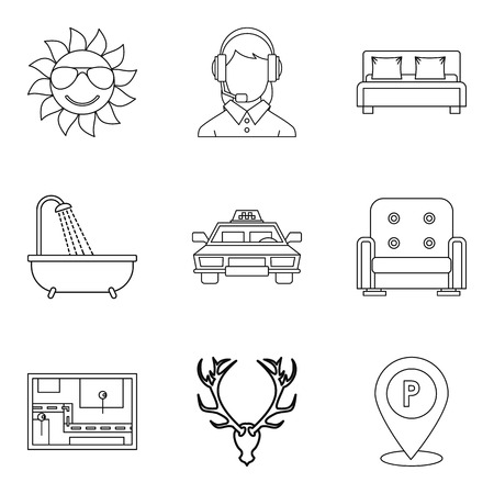 Pavilion icons set. Outline set of 9 pavilion vector icons for web isolated on white background