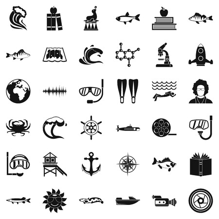 Oceanologist icons set. Simple set of 36 oceanologist vector icons for web isolated on white background Illustration