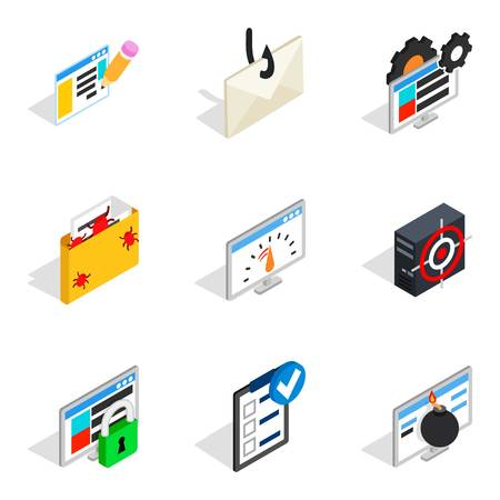 Statistical information icons set. Isometric set of 9 statistical information vector icons for web isolated on white background Vectores