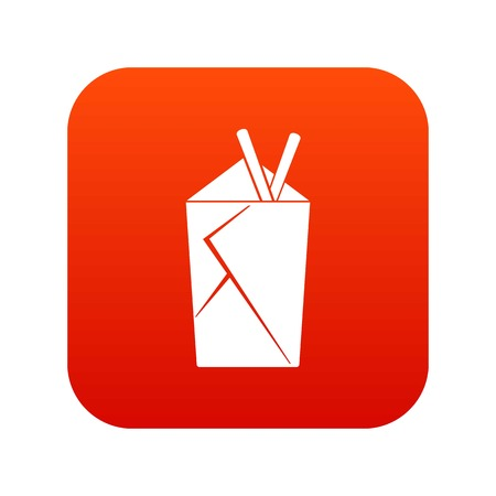 Chinese food box icon digital red