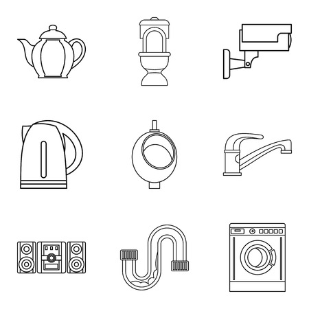 Dormitory icons set, outline style