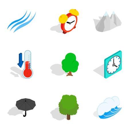 Storm front icons set, isometric style