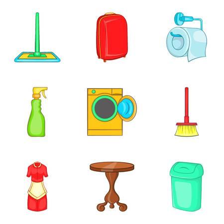 Conjunto de iconos de Homestead, estilo de dibujos animados