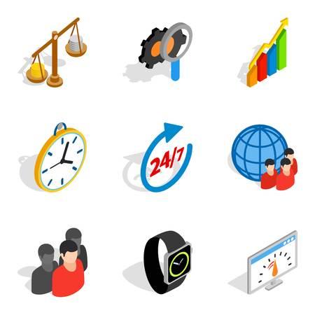 Biz strategy icons set, isometric style