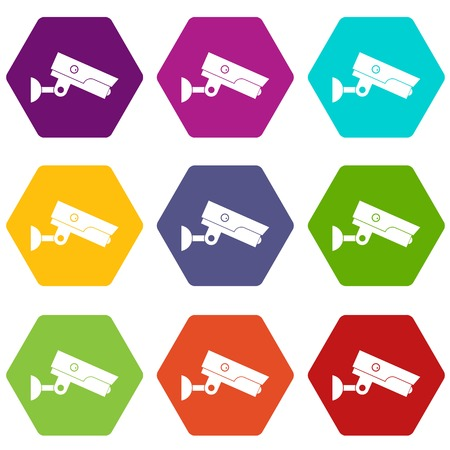 Security camera icon set color hexahedron