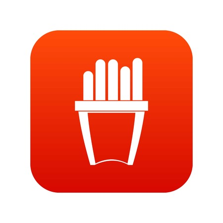 Portion of french fries icon digital red
