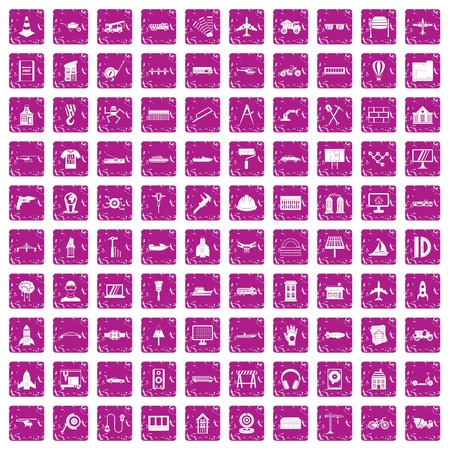 Engineering icons set grunge pink Illustration