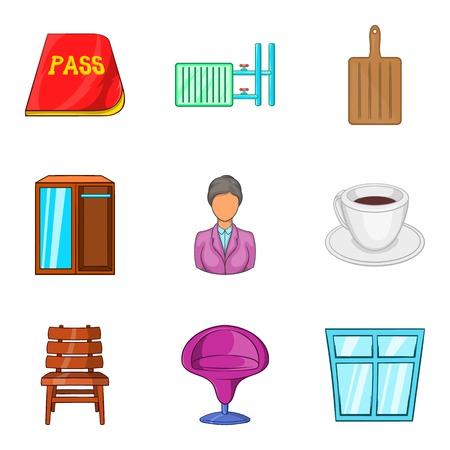 Farmstead icons set, cartoon style