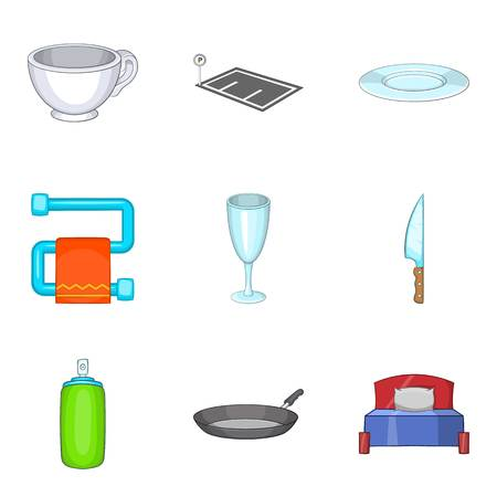 Shelter icons set, cartoon style isolated on plain background.