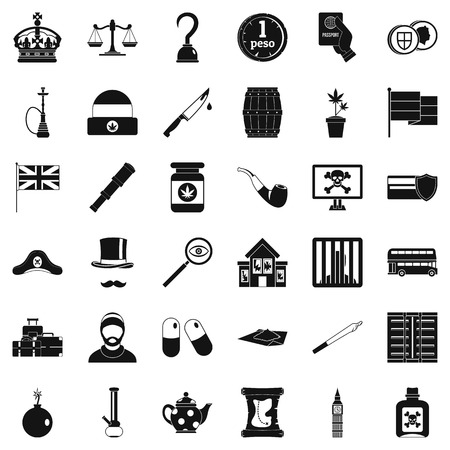 Insult icons set, simple style isolated on plain background.