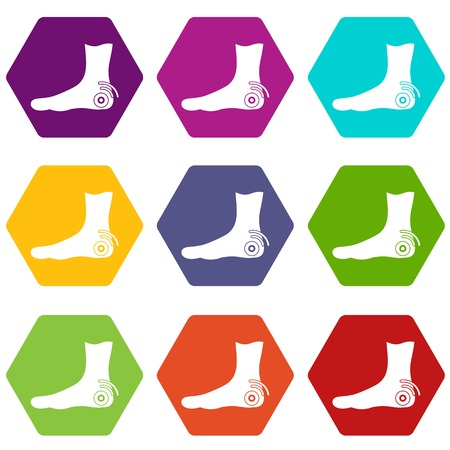 Foot heel icon set color hexahedron isolated on plain background.