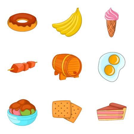 Eat on the go icons set, cartoon style isolated on plain background.