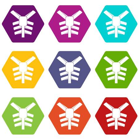 Human thorax icon set color hexahedron isolated on plain background.