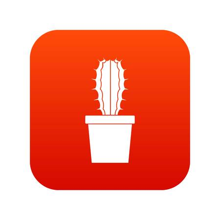 Cactaceae cactus icon digital red for any design isolated on white vector illustration