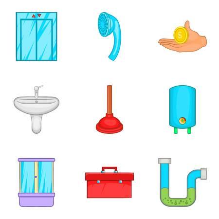 Conjunto de iconos de hostelería. Conjunto de dibujos animados de 9 iconos de vector de hostelería para web aislado sobre fondo blanco