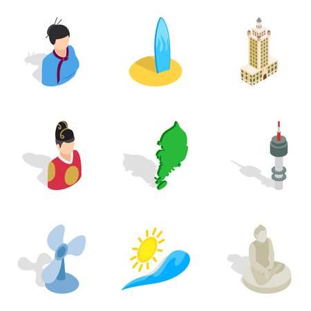 Hospitality icons set. Isometric set of 9 hospitality vector icons for web isolated on white background