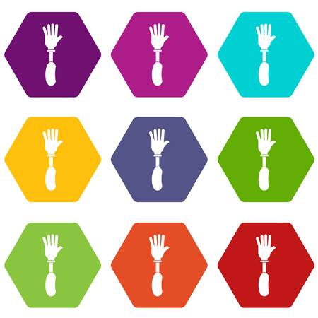 Prosthesis hand icon set color hexahedron Illustration