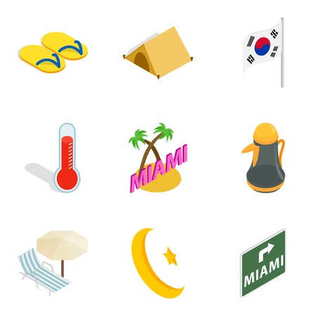 A Hotel sector icons set, isometric style isolated on plain background.