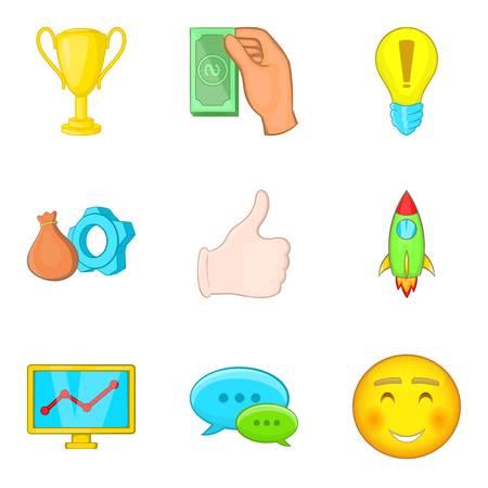 Business entrepreneur icons set, cartoon style isolated on plain background.