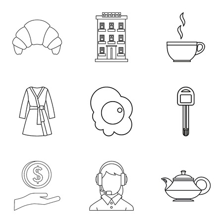 A Hotel service icons set, outline style isolated on plain background. Illustration