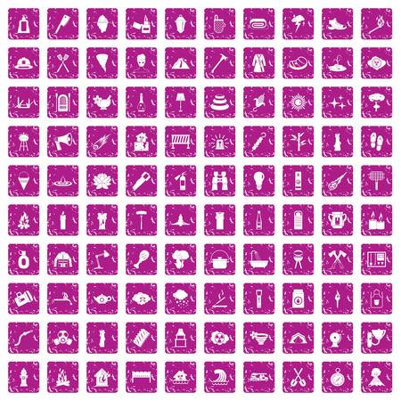 100 fire icons set in grunge style pink color isolated on white background vector illustration