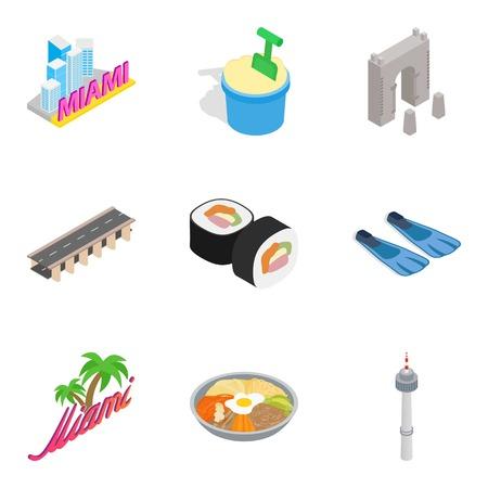 A Hotel industry icons set, isometric style isolated on plain background.
