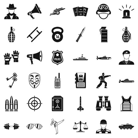 Gendarme icons set. Simple set of 36 gendarme vector icons for web isolated on white background