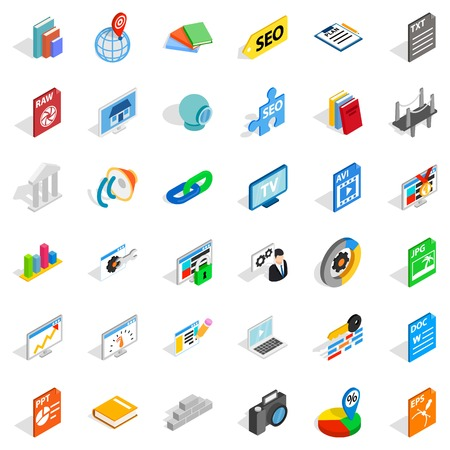 Foreign company icons set. Isometric set of 36 foreign company vector icons for web isolated on white background Illustration