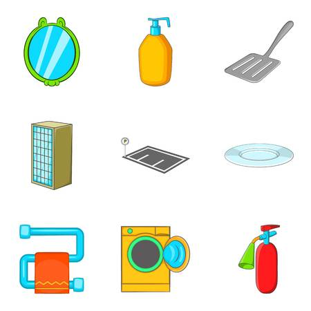 Countryhouse icons set, cartoon style
