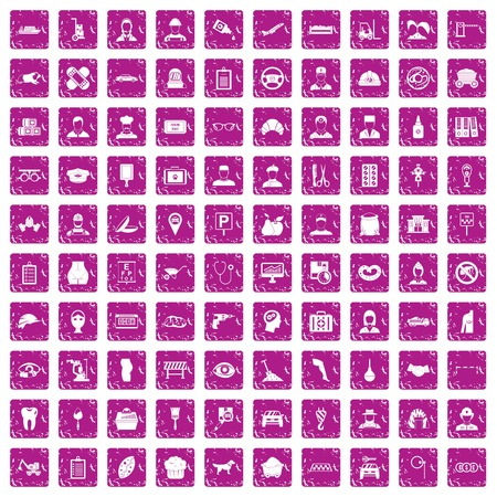 100 favorite work icons set grunge pink isolated on plain background.