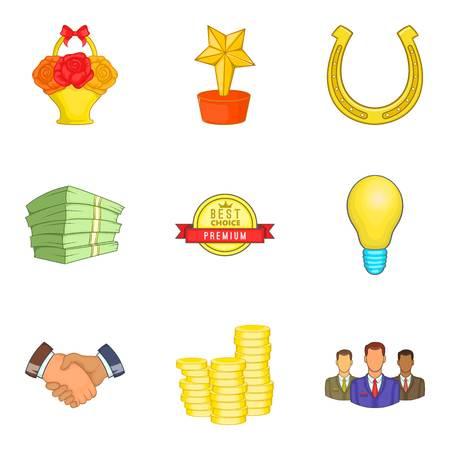 Effective job icons set, cartoon style isolated on plain background.