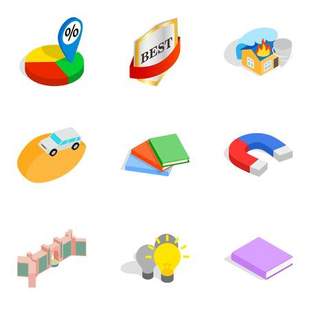 Finest work icons set. Isometric set of 9 finest work vector icons for web isolated on white background