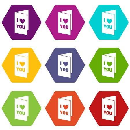Happy Valentines day or weeding card icon set many color hexahedron isolated on white vector illustration