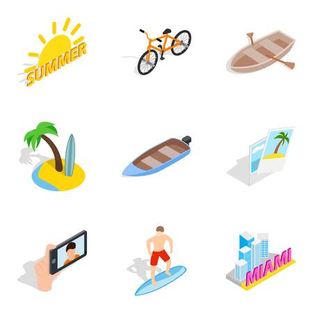 Sultry summer icons set. Isometric set of 9 sultry summer vector icons for web isolated on white background
