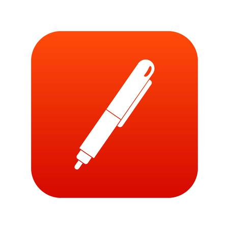 Marker pen icon digital red isolated on plain background.