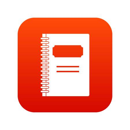 Closed spiral notebook icon digital red isolated on plain background.