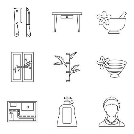 Hospitality management icons set