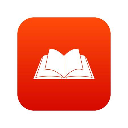 Opened book with pages fluttering icon digital red Vector illustration.