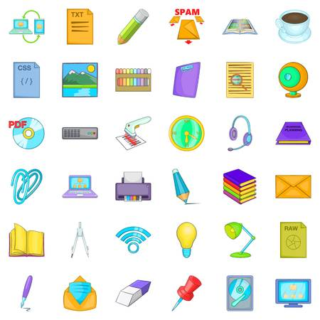Place of work icons set, cartoon style Vector illustration.