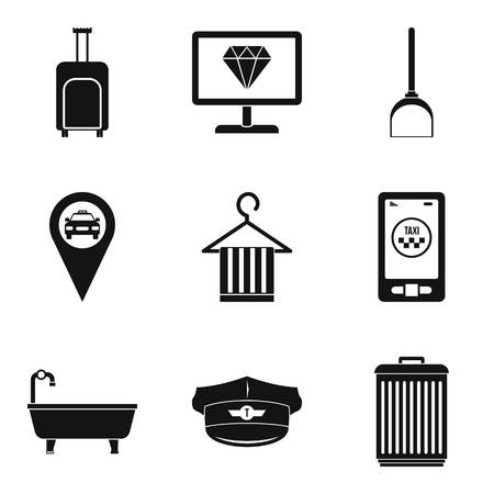 Hotelkeeper-Ikonensatz, einfache Art-Vektorillustration.