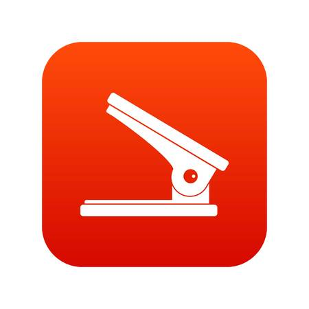 Office paper hole puncher icon digital red Vector illustration.