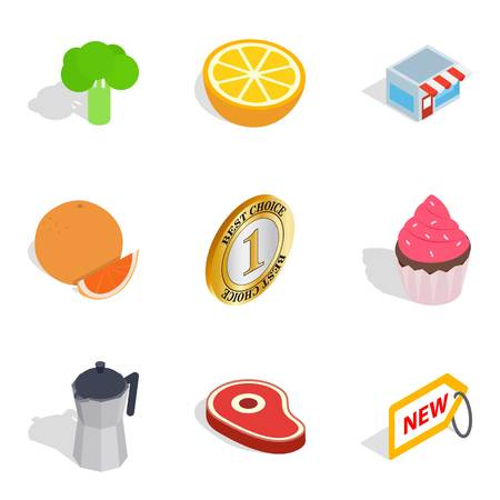 Minimart icons set, isometric style isolated on white Ilustração