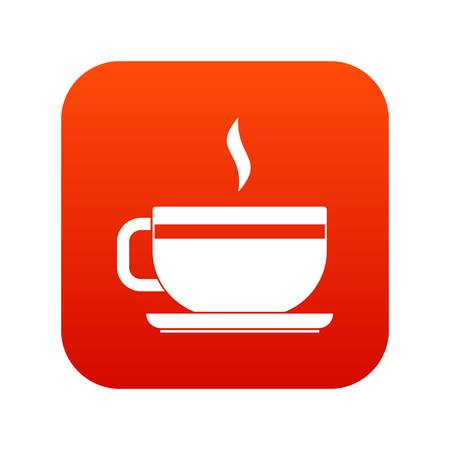 Tea cup and saucer icon digital red Vector illustration. Illustration