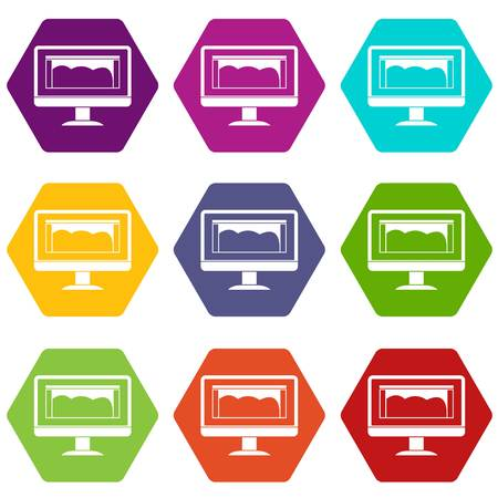 Drawing monitor icon set many color hexahedron isolated on white vector illustration Illustration