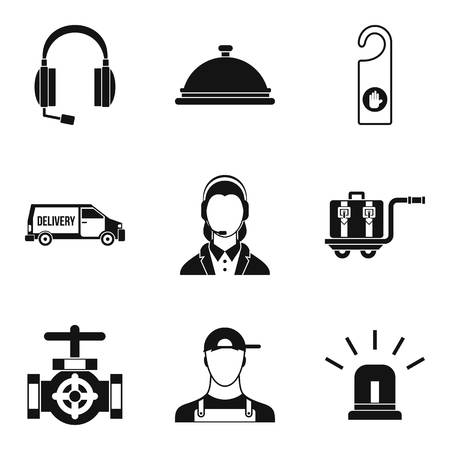 Enterprise support icons set. Simple set of 9 enterprise support vector icons for web isolated on white background 向量圖像