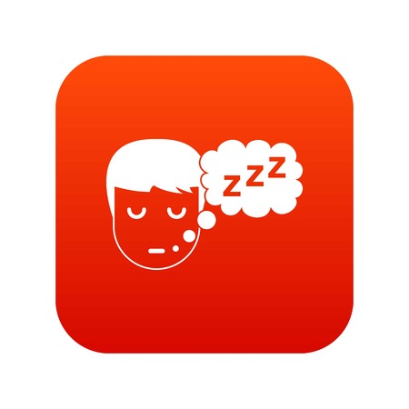 Boy head with speech bubble icon Illustration