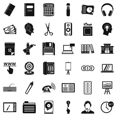 Paper version icons set. Simple set of 36 paper version vector icons for web isolated on white background