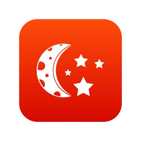 Starry night icon digital red for any design isolated on white vector illustration