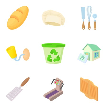 Chamber icons set. Cartoon set of 9 chamber vector icons for web isolated on white background Çizim